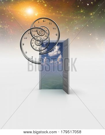 Surreal painting. Opened door to another world. Spirals of time.  3D Rendering