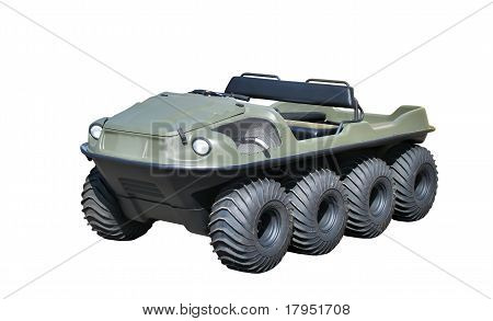 Green all-terrain vehicle isolated over white background poster