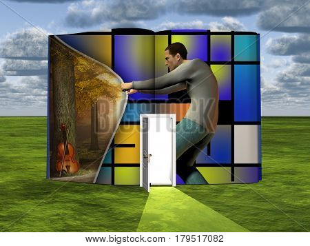 Surrealism. Book with opened door and man opens curtain to another dimension. Mondrian style.  3D Rendering