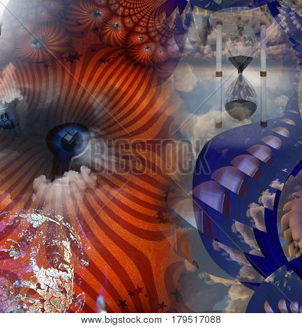 Surreal painting. Endless dimensions. Eye behind keyhole. Buddha and hourglass.  3D Rendering