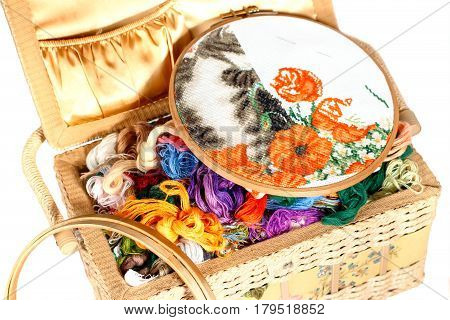 Needlework supplies. Embroidery sewing accessories - canvas hoop thread mouline isolated on a white background