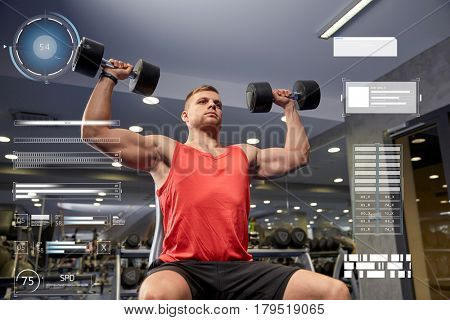 sport, bodybuilding, weightlifting, exercising and people concept - young man with dumbbells flexing muscles in gym over virtual charts