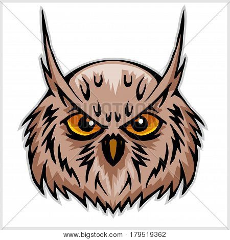 owls head mascot - isolated on white background