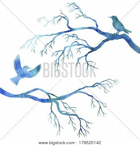 blue watercolor silhouettes of birds at tree, hand drawn songbirds at branch