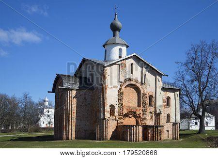 Church Paraskeva at the Marketplace, sunny April day. Velikiy Novgorod