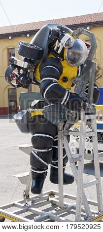 detail of a modern depth Atmospheric Diving Suit in italy