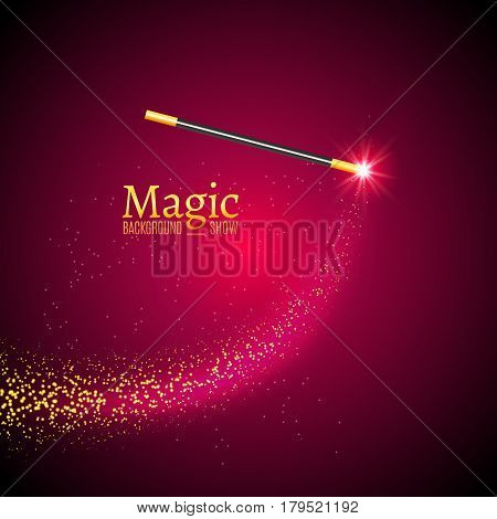 Magic wand vector background. Miracle magician wand with sparkle lights.