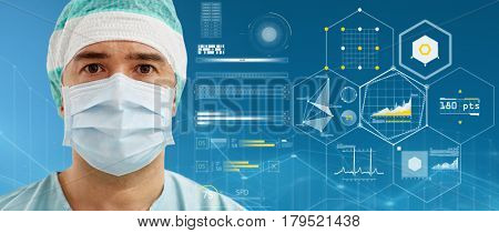 surgery, medicine, healthcare and people concept - surgeon in surgical mask and hat over blue background and virtual charts