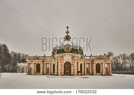 Kuskovo palace in Moscow national museum winter time poster