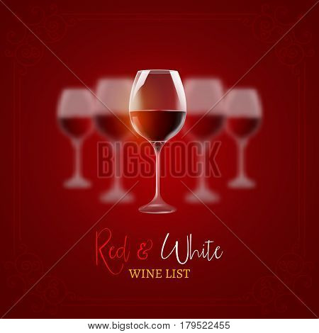 Wine menu card design template. Red and white wine list template layout.