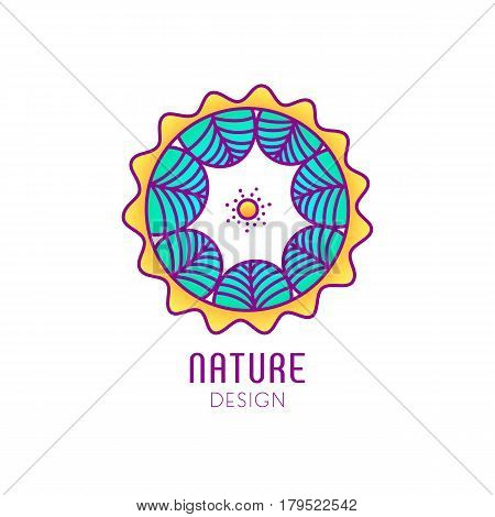 Vector logo of nature on white background. Linear circle icon of landscape with trees and sun. Business emblem, badge for a travel, farming and ecology concepts, health and yoga Center.