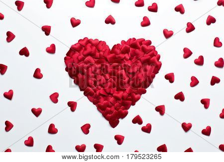 Love valentines backgrund heart shape confetti on white background with copy space