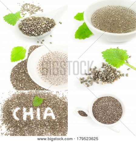 Collage of nutritious chia seeds on white