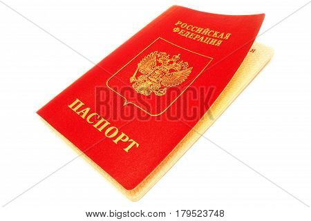 Russian passport isolated on a white background.