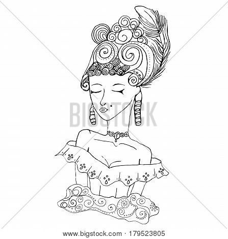 Vector rococo doodle girl wearing big hairstyle and shoulder open dress.