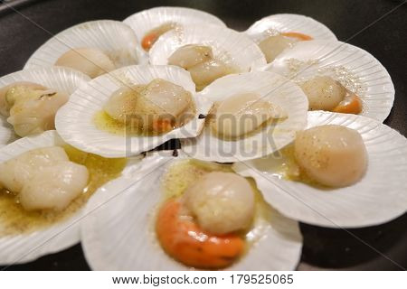 Grilled scallops on plate ready to eat
