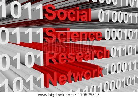 Social Science Research Network in the form of binary code, 3D illustration