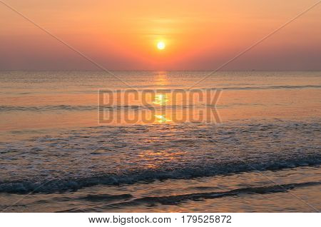 Sunset Seascape With Sun And Beach