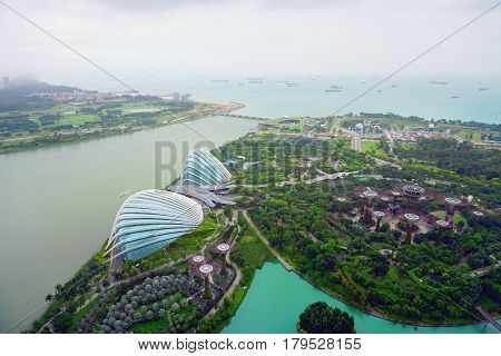 Singapore, Singapore - February 10, 2017: Gardens By the Bay botanical glass pavilions, it's a new design garden with innovative.
