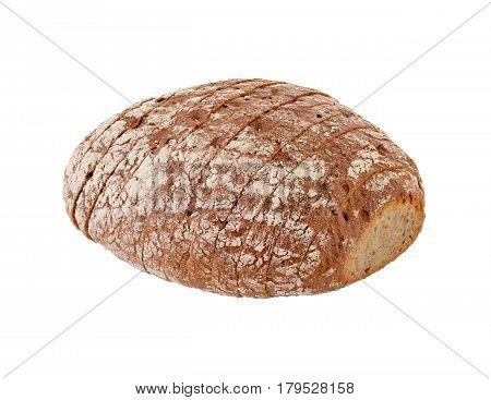 isolated sliced brown bread on white background