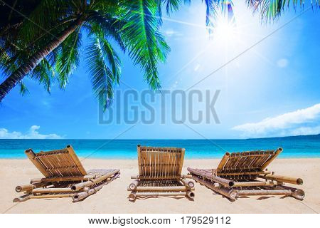 Beach beds under the palm trees on tropical beach, summer vacantion concept