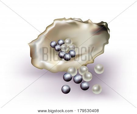 Mixed white and black pearls on white background