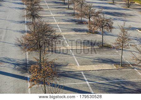 Empty Parking Lot , Parking lane outdoor in public park.