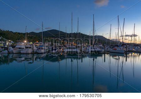 Yachts, Boats And Catamarans In Bay