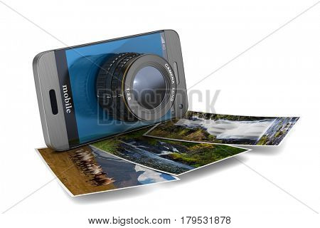 phone with lens on white background. Isolated 3D illustration