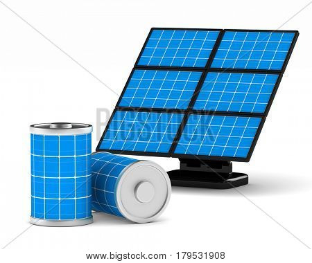 solar battery on white background. Isolated 3d illustration
