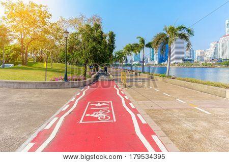 Running track and Bike lanes or cycle lanes in Benchakitti park Bangkok Thailand