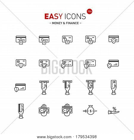 Vector thin line flat design icons set for money and finance themes
