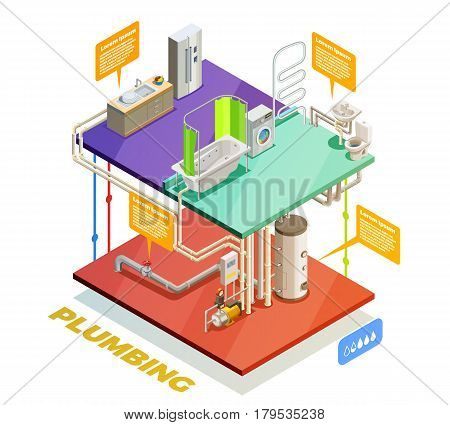 Plumbing two story house water heating system isometric set of boiling room bathroom and kitchen vector illustration