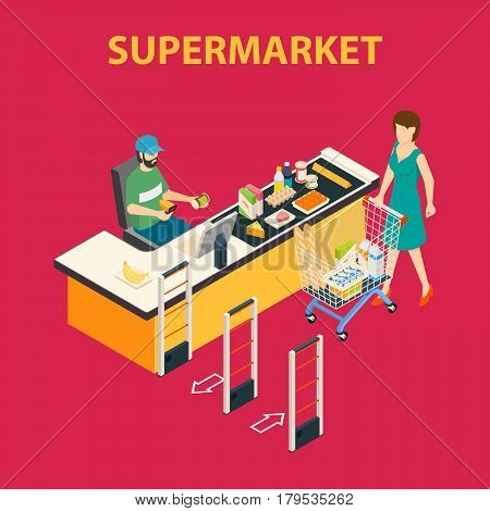 Hypermarket background with flat female customer and checkout clerk human characters with shopping cart and products vector illustration