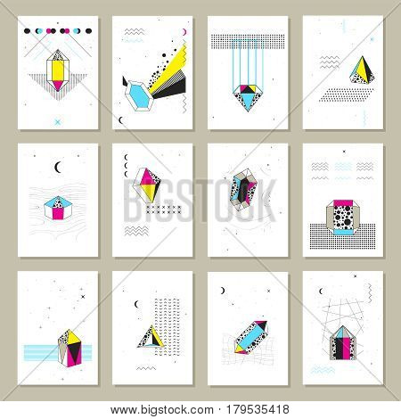 Polygonal crystals geometric shapes and structure schematic images symbols on white paper sheet banners set isolated vector illustration
