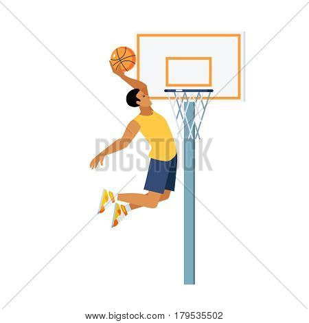 Young man doing basketball jump slam dunk near backboard with hoop on white background vector illustration