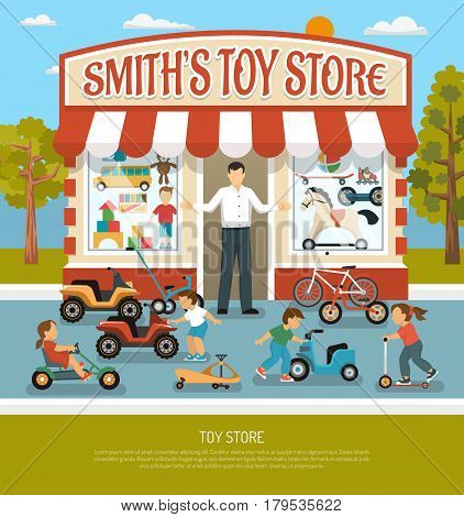 Kids store products children toy shop composition with boutique building seller and infants with bicycles playcars vector illustration
