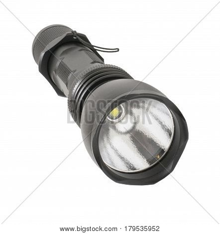 Electric flashlight with a LED on a white background