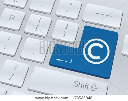 Copyright concept design on button of white computer keyboard for your corporate projects. Vector illustration background.