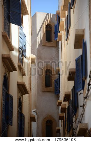 View of a typical street in the old town of Marrakech in Morocco