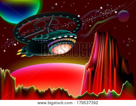 Illustration of flight to Mars on a fantastic spaceship. Vector cartoon image.