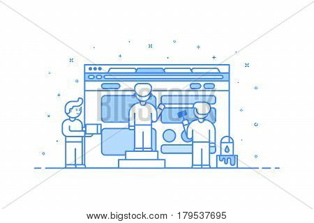 Vector illustration in flat outline style. Graphic design concept of web and user interface development - small people building and creating website with blocks in browser.
