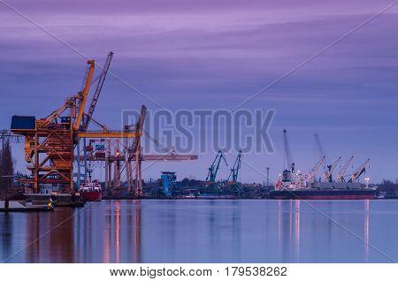 PORT AT DAWN - Seaport on Swinoujscie