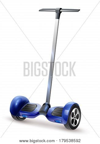 Realistic self-balancing gyro two-wheeled board scooter or hoverboard close up view dark blue vector illustration