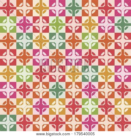 vector wallpaper seamless decoration of square tiles cross and circle inside colorful graphic design for fabric or decorative backgrounds