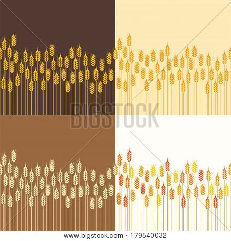 vector collection of seamless repeating wheat or rye field background patterns abstract agricultural ornament for harvest illustration