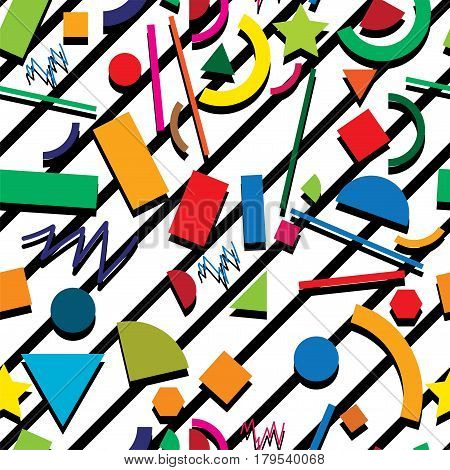 vector seamless 80s or 90s background pattern hipster style with chaotic geometric shapes retro design with black stripes on white background