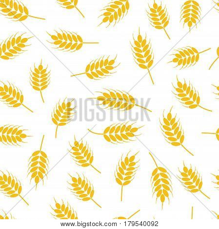 vector seamless wheat or rye pattern abstract agricultural yellow ornament on white background