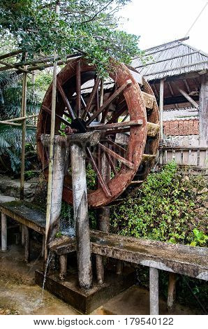 Okinawa traditional water mill used in village