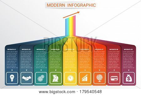 Vector template Infographic for 9 options. Vertical colour strips with prospect and a shade